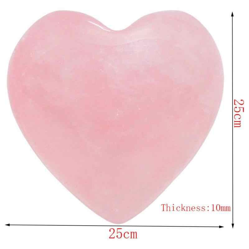 รูปหัวใจหินธรรมชาติ Rose Quartz รูปหัวใจลายคริสตัลแกะสลักปาล์ม Love Healing อัญมณี Drop #0118