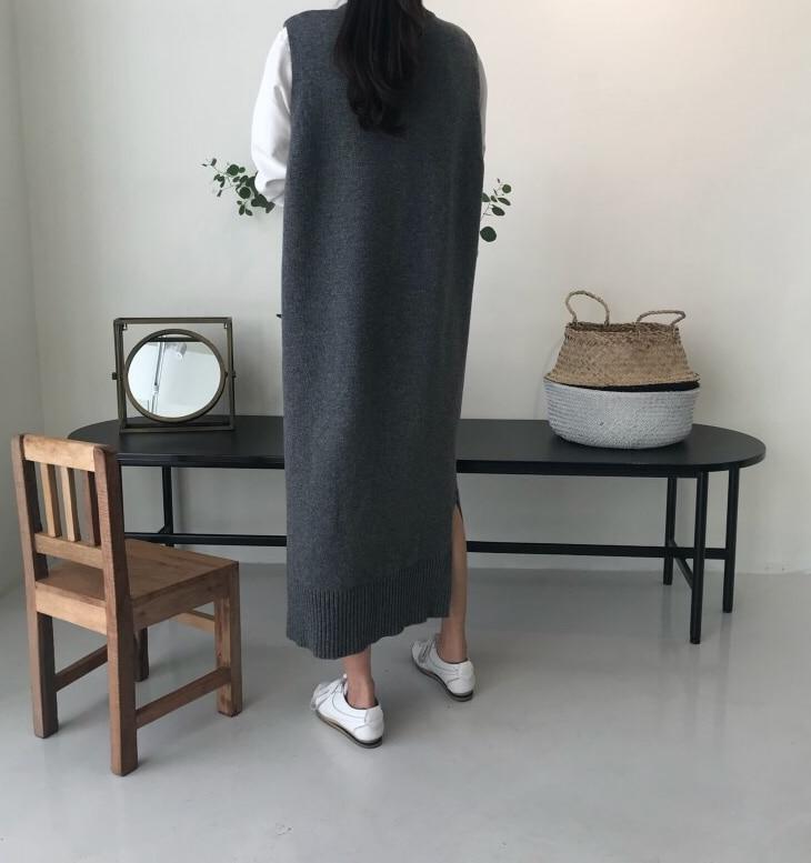 Lado split quente feminino outono inverno longo camisola de malha vestido de verão solto o pescoço sem mangas colete senhora vestidos robe femme vestido