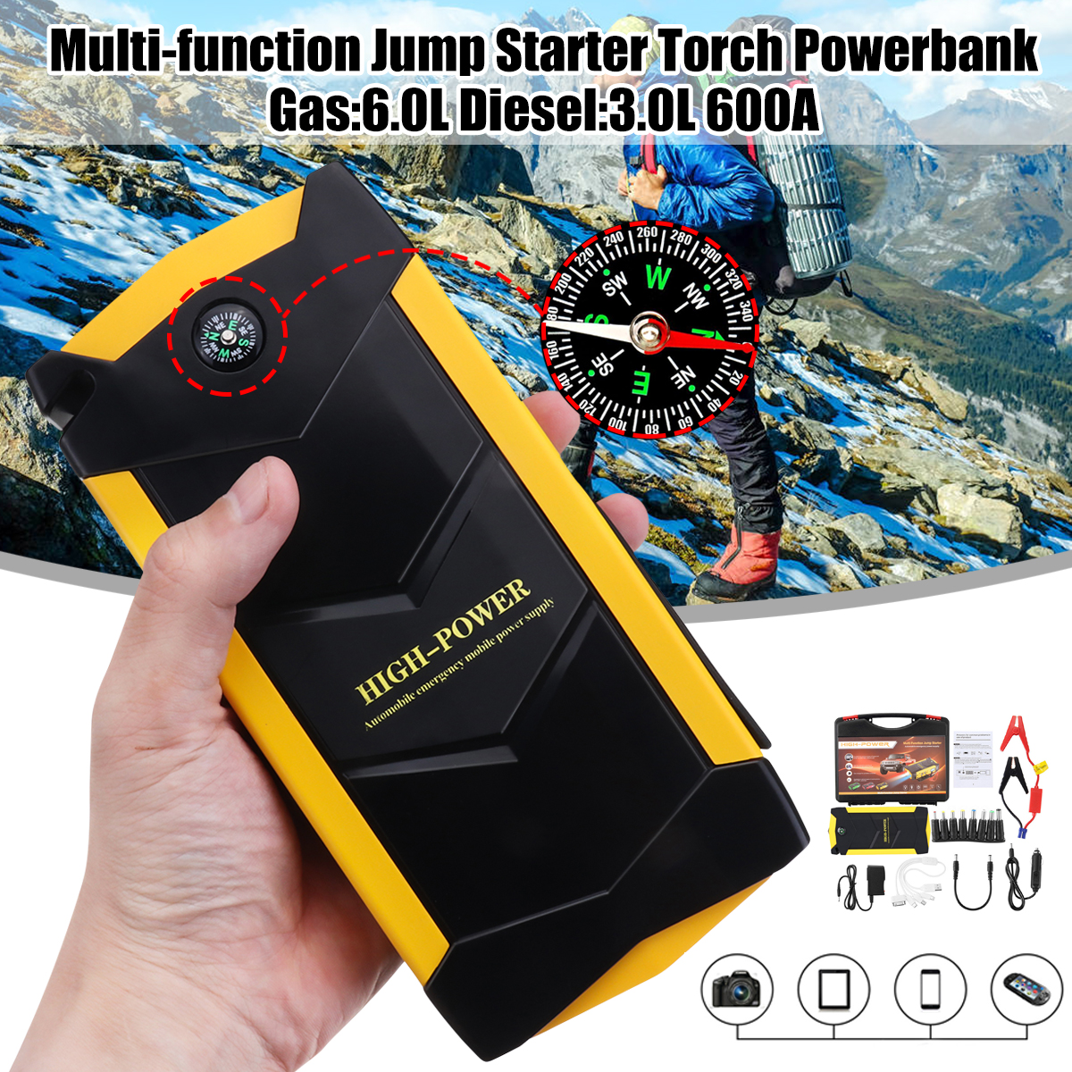 82800mAh 12V 4USB High Power Car Battery Charger Starting Car Jump Starter Booster Power Bank Tool Kit For Auto Starting Device