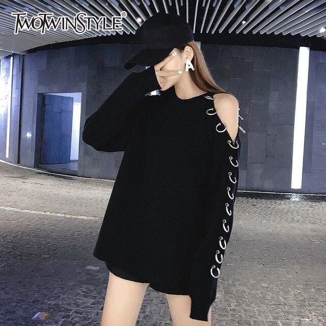 c3e02c136a5 TWOTWINSTYLE Femmes Sweat-Shirt O Cou Hors Épaule Manches Longues Bandage  hauts pullover Femme Printemps 2019 décontracté Vêtements De Mode