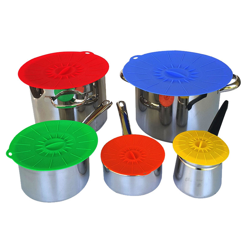 5 Pcs/Set Silicone Seal Covers Bowls Cookware Parts Organizer Preservation Fresh-keeping Cover Kitchen Food Seal Lid Accessories