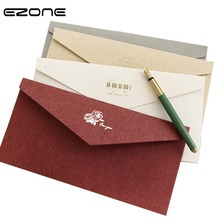 цена на EZONE Vintage Stamping Envelope Simple Style Wallet Envelope Blank Paper Message Card Letter Stationary Storage Gift For Friends