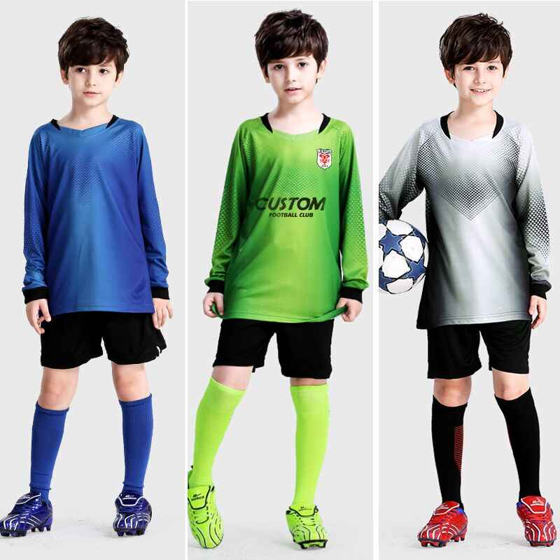 Custom Children Soccer Jersey 2019 Camisetas De Futbol Soccer Uniforms Kids Long Sleeves Football Jerseys Polyester Sportswear
