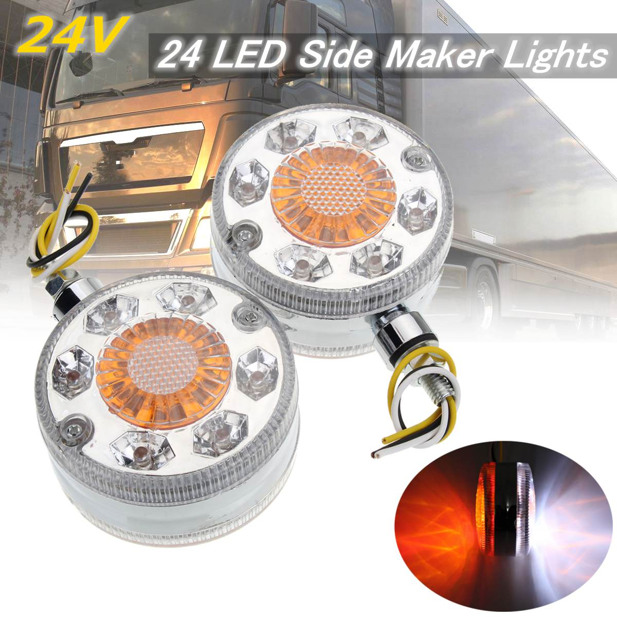 2x Chrome Red White Amber 24LED 24V Side Maker Lights For SCANIA DAF MAN RENAULT
