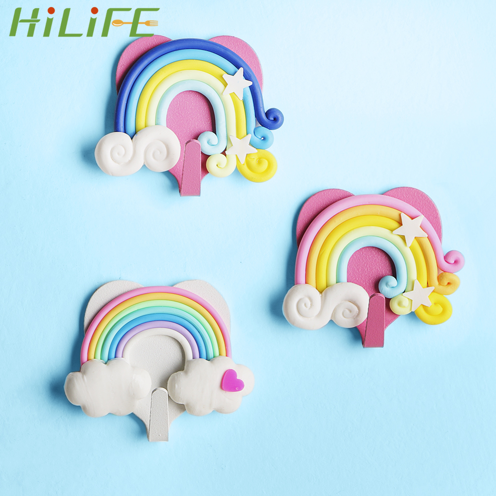 HILIFE Cute Fantasy Rainbow Shape Bedroom Decor Hooks Wall Coat Keys Bags Clothes Hanger Self Adhesive Wall Hooks Strong Suction