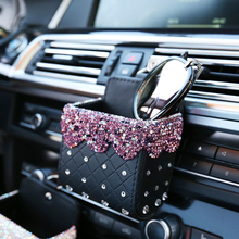 Bling Crystal Rhinestone Car Air Vent Pocket Bag Box Storage Organizer Universal leather Auto Mobile Phone Glasses Holder