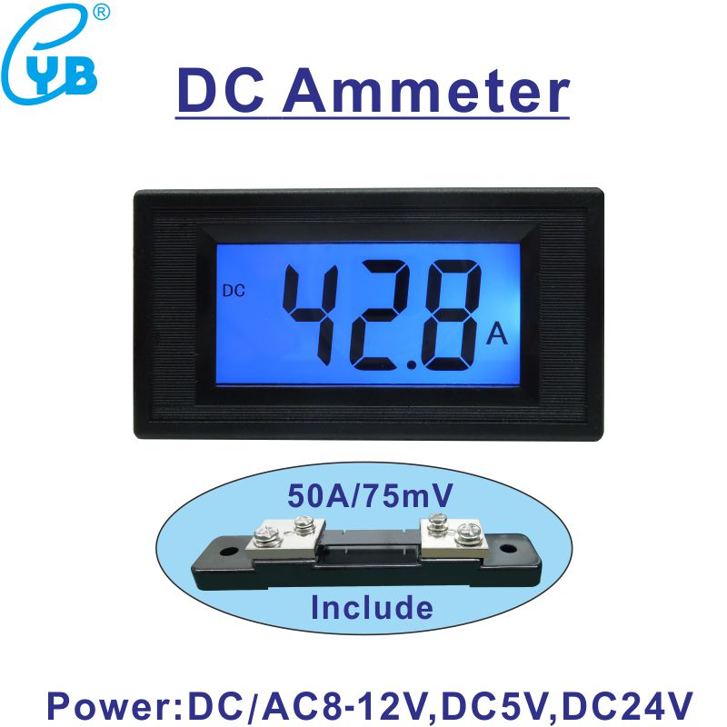 Цифровой амперметр постоянного тока DC50A амперметр панели Измеритель постоянного тока Амперметр включает 50A/75мв монитор тока ЖК-дисплей с си...