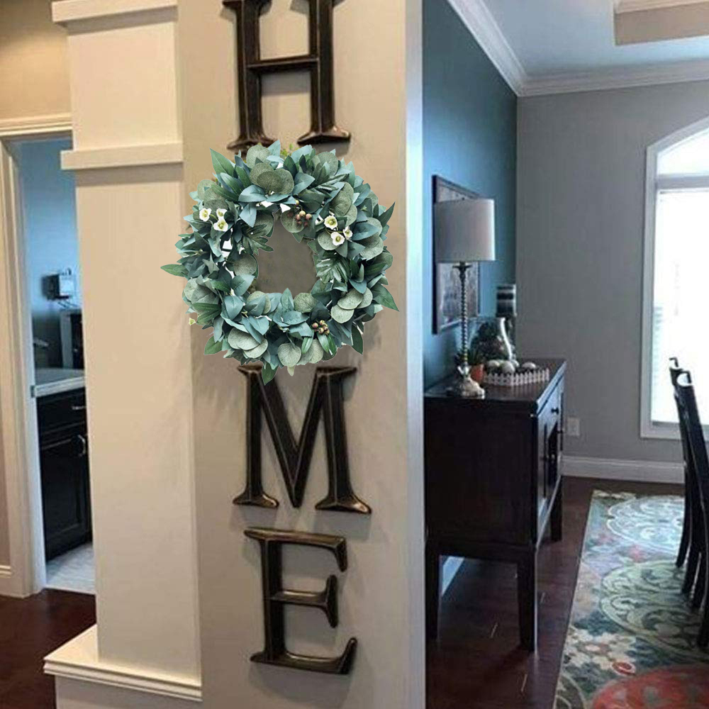 Artificial Green Leaves Wreath 13.8/16.9/20.8 Inch Front Door Wreath Shell Grass Boxwood Wreath For Wall Window Party Decor