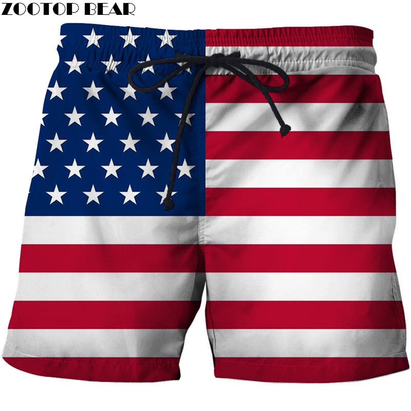Red And White Horizontal Bars Men 3D Printed Beach Shorts <font><b>USA</b></font> Flag Male Quick Dry Breathable Watersport Board Shorts ZOOTOP image