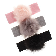 Baby Pompoms Headbands Girl Winter Cotton Elastic Hair Bands Turban Head Band Kids Raccoon Faux Fur Ball Hair Accessories Kawaii купить недорого в Москве