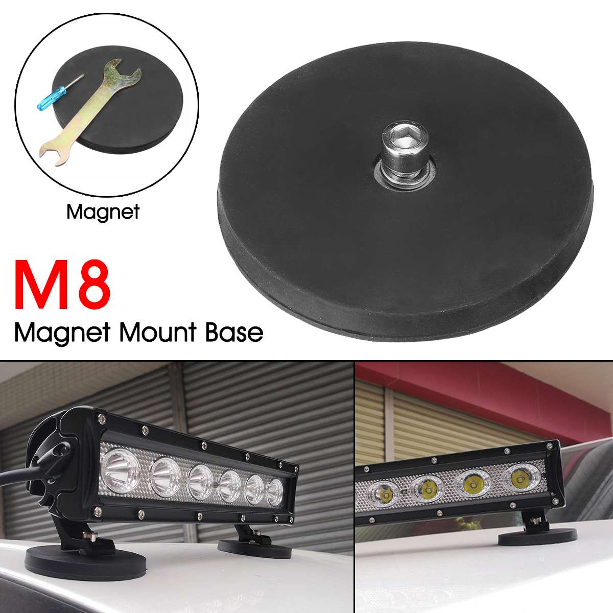 Car LED Work Light Bar Strong Magnet Base Mounting Bracket Holder w/Rubber Pad For SUV Trucks Boat ヘッドスパ 用 シャンプー 台
