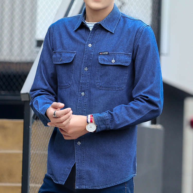 #4718 2019 Spring Autumn Denim Shirt Men Long Sleeve Blue Sunscreen Work Clothes Plus Size 4XL High Quality Fashion Cotton Shirt