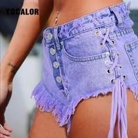 2018 Sexy Mini Jeans High Waisted Waist Summer Cotton Shorts Women Strapon Short Sexy Denim Shorts Jeans Hot Jeanse Twerk
