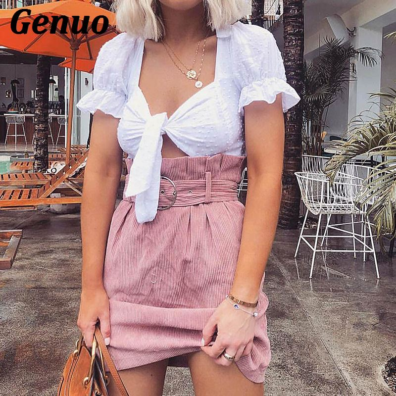 Genuo Autumn Skirts Womens Fashion Corduroy Skirt Femme High Waist Winter Skirt with Belt Pink Casual Mini Skirt Streetwear in Skirts from Women 39 s Clothing