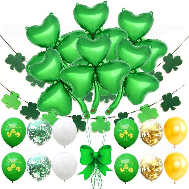 ZLJQ Happy Saint Patrick 's Day Balloons Felt Shamrock Clover Garland Banner For Irish St. Patrick 's Day Party Supplies 1