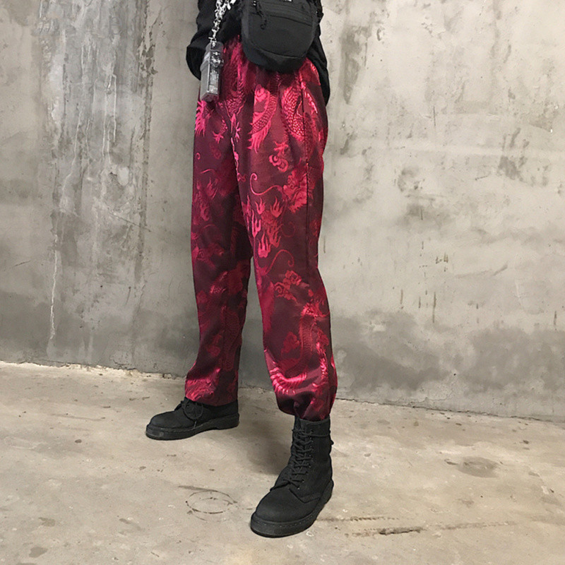 Lychee Girls Dragon Embroidery Pants Female Elastic Waist Straight Full Length Trousers Spring Autumn Casual Women Pants