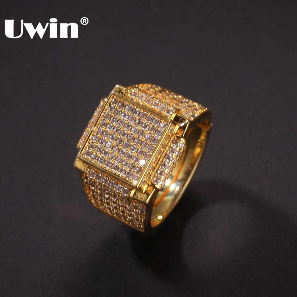 UWIN Micro Pave Geometric Hiphop ผู้ชายแหวน Iced Out Cubic Zirconia เงินทองแฟชั่นเครื่องประดับ Drop Shipping