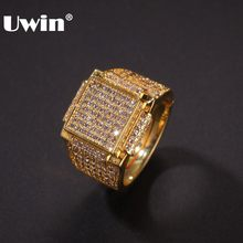 UWIN Micro Pave Geometric Hiphop ผู้ชายแหวน Iced Out Cubic Zirconia (China)