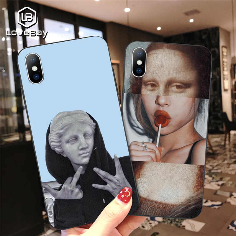 Lovebay For iPhone 11 Pro Max 6 6s 7 8 Plus X XR XS Max 5 5s SE Phone Case Cartoon Statue Abstract Art Painted Soft TPU Shell For iPhone X