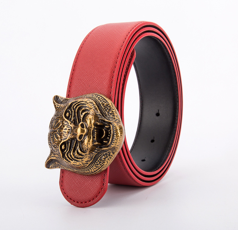 Image 5 - Wild Personality Mens Belt Tiger Head Pattern Metal Buckle Strap Male Leather Belt Western Cowboy Style Belt Gift For MenMens Belts   -