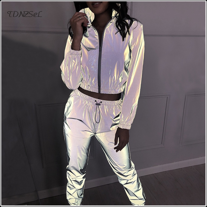 Casual Women Reflective Tracksuit Two Piece Set Flashing Zipper Jacket Crop Tops Night Running Pants Jogger Sport Sets Outfit