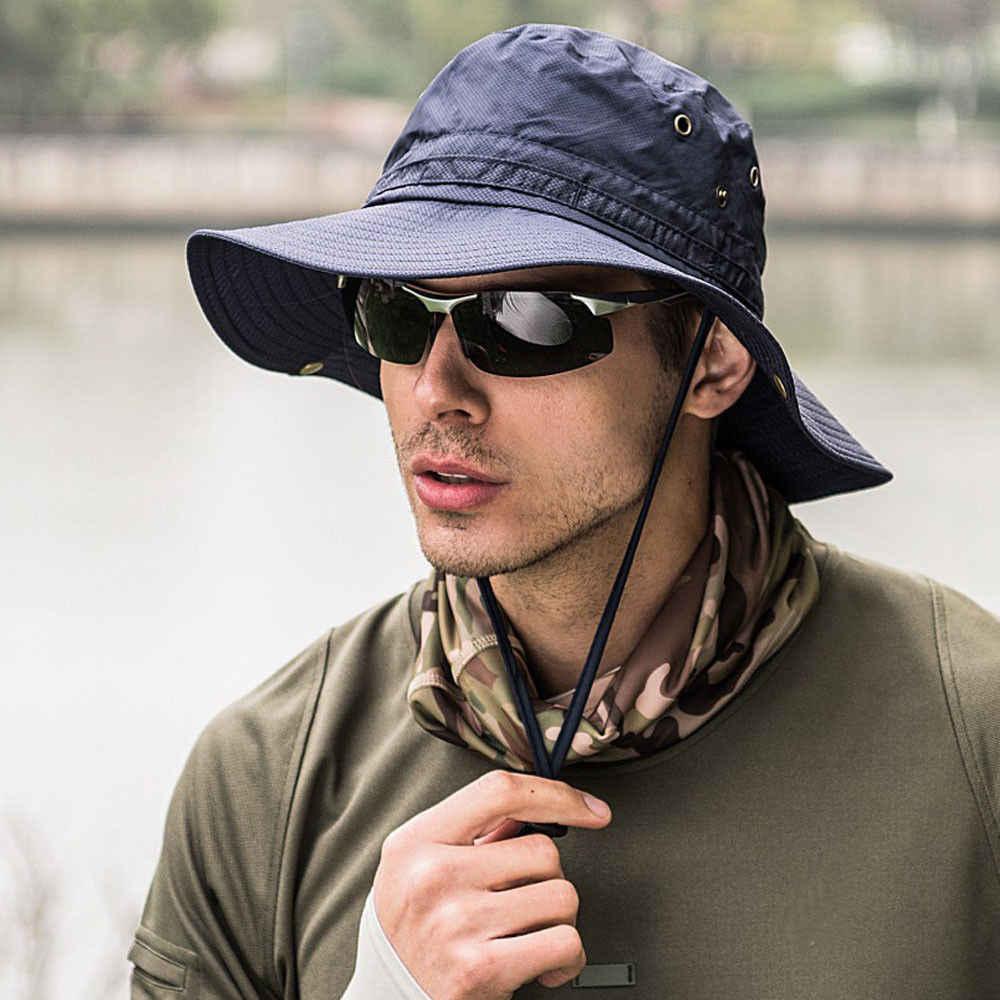 17bdc96c998d4 ... Fashion Men Bucket Hats Boonie Bucket Hat Cap Fishing Hunting Safari  Summer Men Sun Hat Fisherman s ...