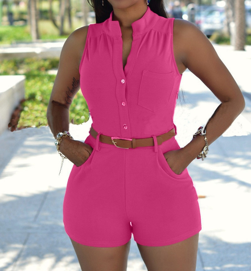 Sexy Women Shorts Jumpsuit Shorts Bodysuit Playsuit Casual Women Summer Clothing Overalls Shorts Rompers With Belt
