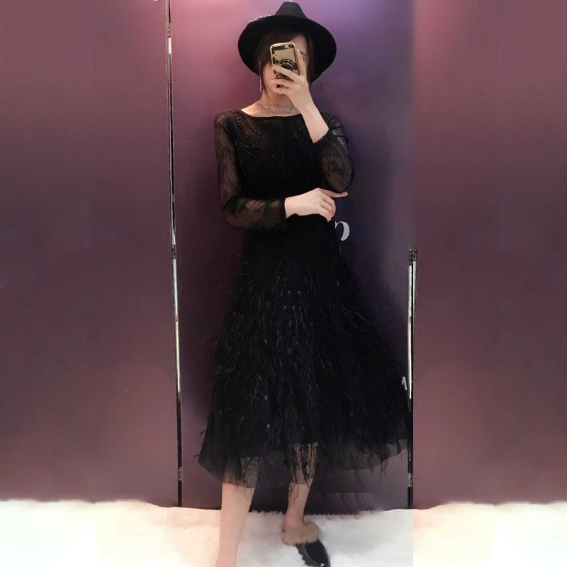 TWOTWINSTYLE Patchwork Feather Dress Female High Waist Wrist Sleeve Beading Evening Party Dresses Women Autumn Fashion 2019 New