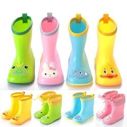 Непромокаемые сапоги для малышей; водонепроницаемые резиновые сапоги для детей; ПВХ резиновые цветные милые Детская мультяшная обувь; дыша...