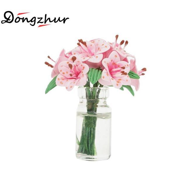 Dongzhur Doll House Toy Mini Flower Pink Lily Glass Bottle Flower Arrangement Dollhouse Furniture Miniatures 1:12 Accessories