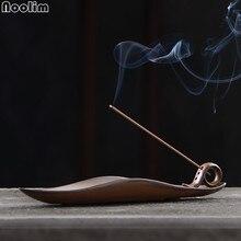 NOOLIM Будда Держатель для ароматических палочек Винтаж Longquan печи буддистское кадило храма Поставки Китайский лист лодка благовоний горелки