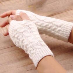 Лидер продаж Для женщин шерстяные варежки теплые перчатки без пальцев рук теплые зимние Для женщин Рука вязание крючком Вязание