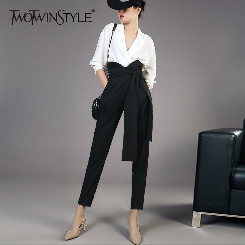 TWOTWINSTYLE Elegant Two Piece Sets Female Chiffon V Neck Long Sleeve Shirts High Waist Bandage Ankle Length Trouser Womens Suit