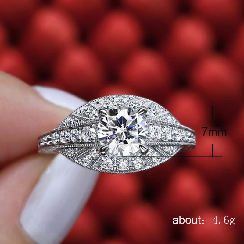 Silver 925 Ring Diamond Rings Treasure gold couple Ladies Engaged Flower Cutout Diamond Men 39 s accessories rose gold cubic B2523 in Rings from Jewelry amp Accessories