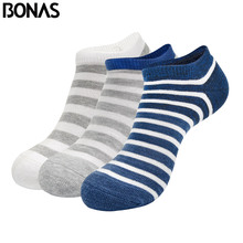 BONAS 3pairs/lot Cotton Men Socks Breathable Mens Colorful Casual Ankle Stripe Plaid Thick Sock Random Send Gift