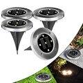 4 шт./лот напольный садовый лужайка похороненный Солнечный свет 5 LED подземный водонепроницаемый Солнечный свет освещение торшер