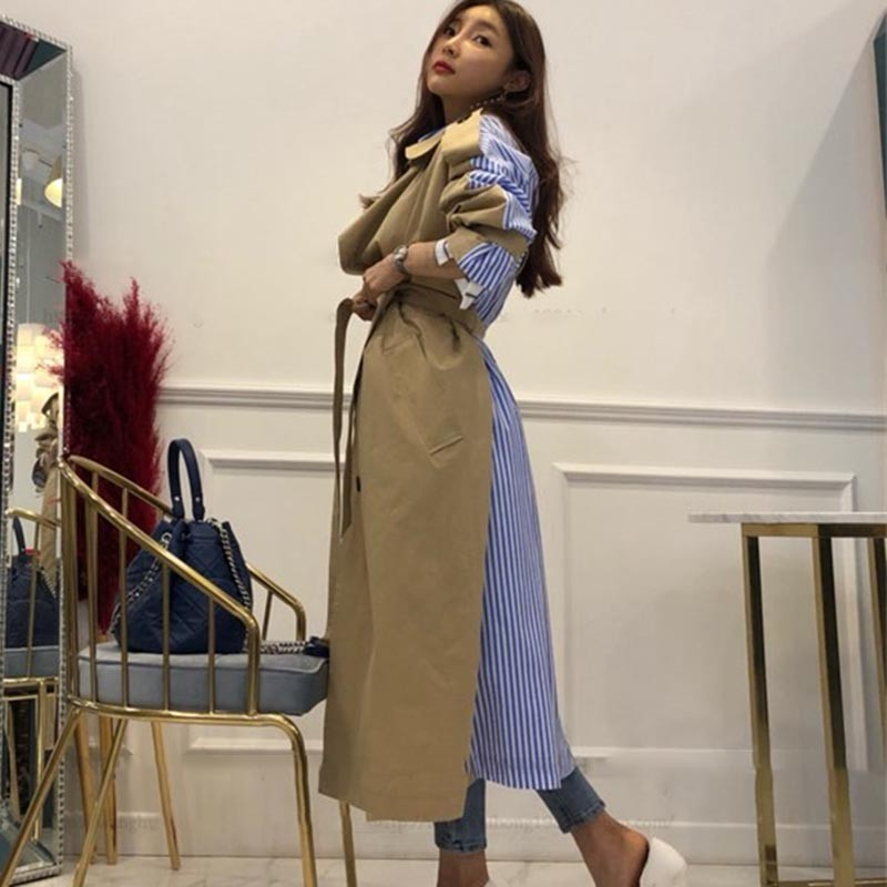 TWOTWINSTYLE Striped Patchwork Windbreaker For Women Long Sleeve Lace Up Trench Coat Female Korean Fashion 2019