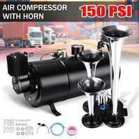 3 литра 150 фунтов/кв. дюйм Air Horn 150 дБ 12 в воздушный компрессор и 4 трубы Chrome для поезд грузовик высокое давление