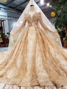 Image 2 - Женское свадебное платье SSYFashion, роскошное золотистое платье с длинными рукавами и вышивкой из блесток, блестящее платье для выпускного вечера