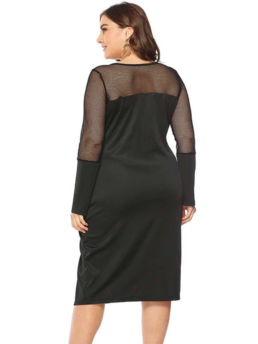 Для женщин пикантные с длинным рукавом сетки Коктейльная вечеринка Bodycon платье черный плюс размеры XL ~ 5XL