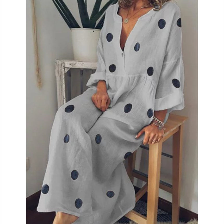 Plus Size Women Polka Dot Printed Long Beach Dress 2019 Summer Sexy V Neck Long Sleeve Boho Dress Loose Casual Shirt Dresses in Dresses from Women 39 s Clothing