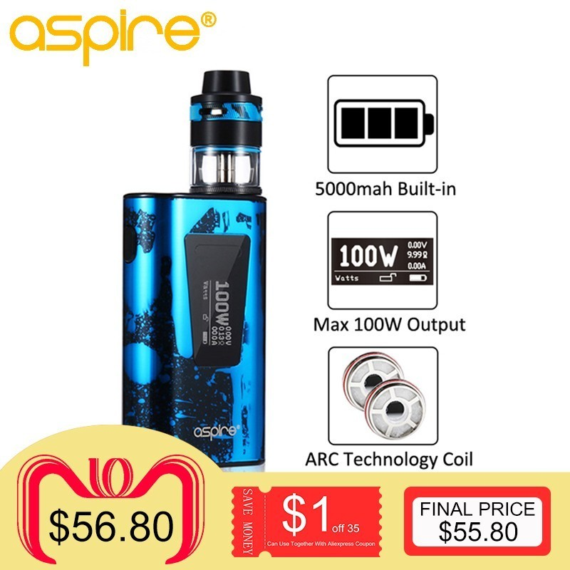 Electronic Cigarette Aspire Typhon Revvo 100W Vape Kit E Cig Device with 5000mah Built-in Battery and 3.6ML Revvo Atomizer Tank