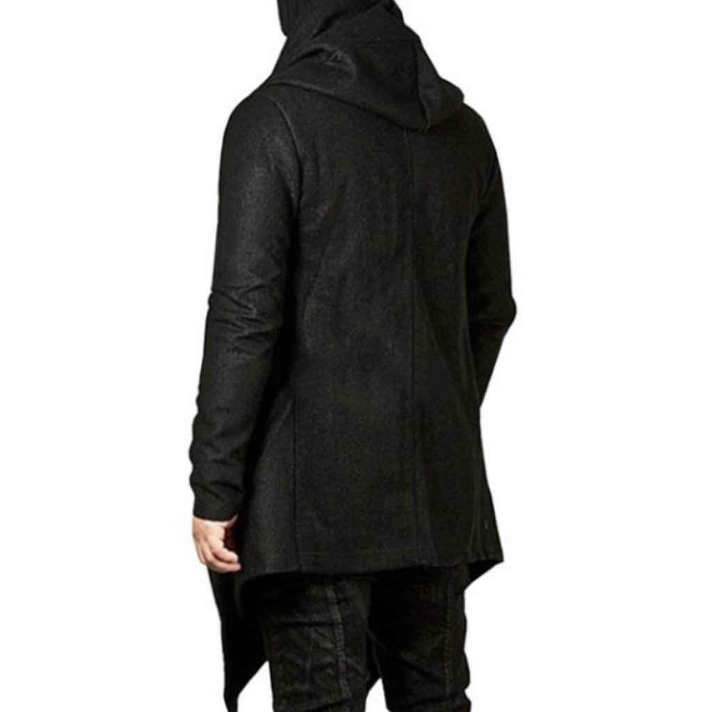 Мужская куртка с капюшоном и открытой строчкой, асимметричное длинное пальто, повседневная одежда с длинным рукавом, осенне-зимний топ