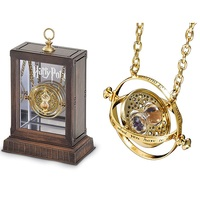 Wellcomics Harri Potter Hermione Gold Time Turner Metal Pendant Necklace Chain Stand Action Figure Model Toy Box Collection Prop