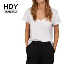 HDY Haoduoyi Sexy V Collar Leisure Tees White Pure Color Short Sleeve Sport T Shirt Sweet Streetwear Tops Summer Women Wholesale