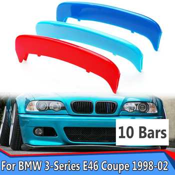 3pcs/set 3D Stickers ABS M Color Grille Grill Cover Clip Trim For BMW 3-Series E46 For Coupe 2 Door 1998 1999 2000 2001 2002 image