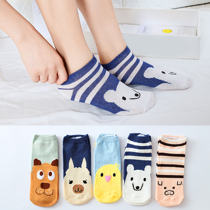 Sale Kawaii Spring Summer Women Boat Socks Cute Pig Bear Cartoon Students Socks Cotton Girls in Socks from Underwear Sleepwears