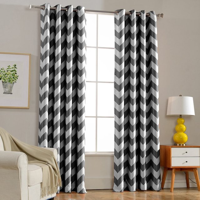 European Style Window Shade Curtain Gray Chevron Dark Blue Room Blackout Curtains For Bedroom