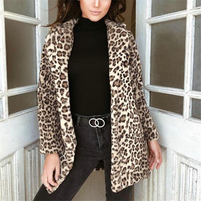 1973d305482 Women Coats And Jackets Fashion Leopard Print Tops Ladies Coats Cardigan Top  Women Jackets Warm Long Coat Winter Womens Clothes