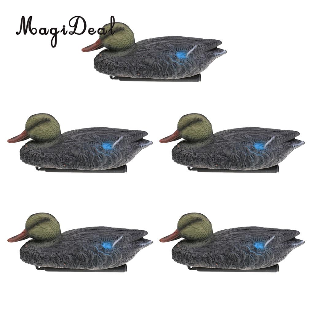 MagiDeal 5 Pieces Floating Mallard Duck Decoy Hunting Decoys Garden Yard Ornaments Hunting Decoy for Oudoor Camping Access wholesale dc 6v remote control plastic mallard drake hunting decoys decoy for duck